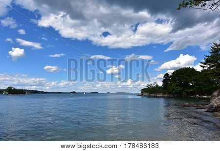 A gorgeous view of Casco Bay Maine on a summer's day.