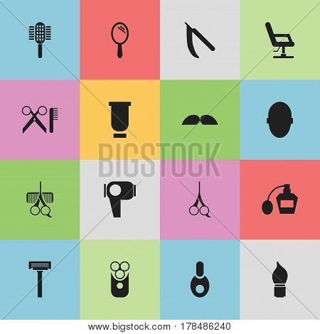 Set Of 16 Editable Barber Icons. Includes Symbols Such As Whiskers, Vial, Blade And More. Can Be Used For Web, Mobile, UI And Infographic Design.