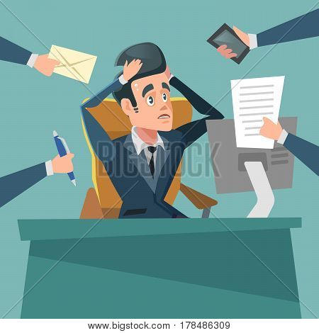 Shocked Multitasking Businessman. Stress at Work. Vector cartoon illustration