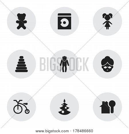 Set Of 9 Editable Family Icons. Includes Symbols Such As Girl, Toy, Grandpa. Can Be Used For Web, Mobile, UI And Infographic Design.