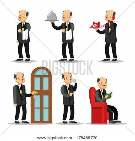 Butler Cartoon Set. Man with Serving Tray. Vector illustration