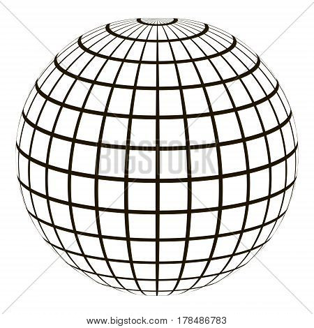 3d globe with a coordinate grid Meridian and parallel, the field lines on the surface Meridian and parallel, vector template graticule