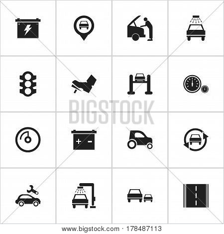 Set Of 16 Editable Traffic Icons. Includes Symbols Such As Speed Display, Car Lave, Vehicle Car And More. Can Be Used For Web, Mobile, UI And Infographic Design.