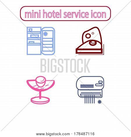 Mini Hotel Services Icons Set. Vector illustration