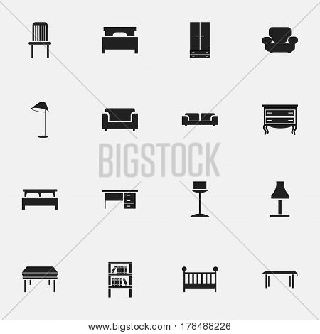 Set Of 16 Editable Interior Icons. Includes Symbols Such As Bearings, Stillage, Seat And More. Can Be Used For Web, Mobile, UI And Infographic Design.