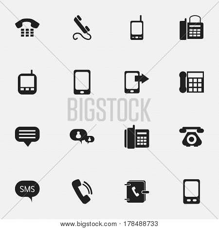Set Of 16 Editable Communication Icons. Includes Symbols Such As Talking, Message, Calling Device And More. Can Be Used For Web, Mobile, UI And Infographic Design.