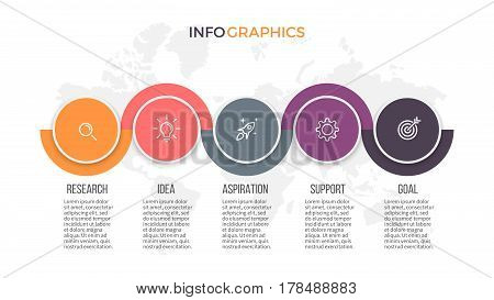 Business infographics. Presentation slide, diagram with 5 steps, options.