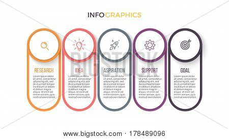 Business infographics. Presentation with 5 sections, parts.