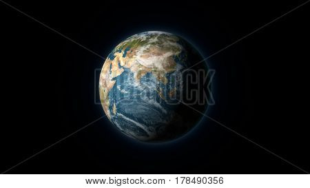 Realistic Earth centered on the Asian continent on a black background. Digital illustration. Earth texture is public domain provided by NASA.