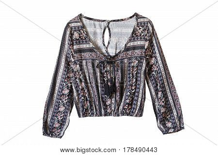 Silk ethnic long sleeves blouse on white background