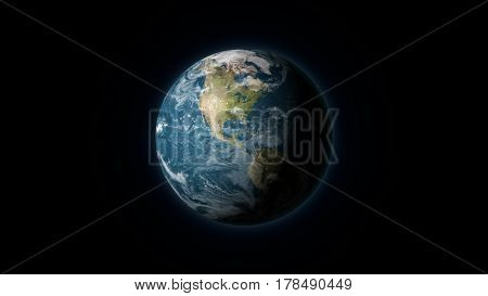Realistic Earth centered on the North American continent on a black background. Digital illustration. Earth texture is public domain provided by NASA.