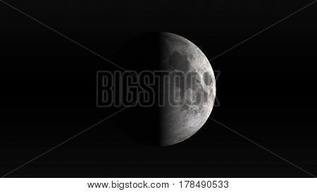The Moon in first quarter phase on a black background. Digital illustration. Moon texture is public domain provided by NASA.