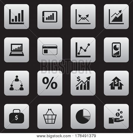 Set Of 16 Editable Analytics Icons. Includes Symbols Such As Schema, Revenue, Profit And More. Can Be Used For Web, Mobile, UI And Infographic Design.
