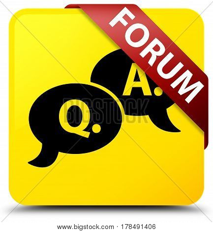 Forum (question Answer Bubble Icon) Yellow Square Button Red Ribbon In Corner