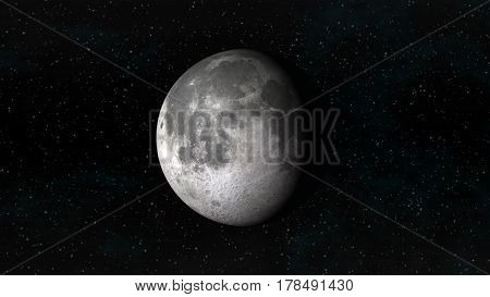 The Moon in waning gibbous phase on a background of stars. Digital illustration. Moon texture is public domain provided by NASA.