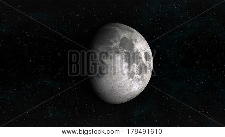 The Moon in waxing gibbous phase on a background of stars. Digital illustration. Moon texture is public domain provided by NASA.