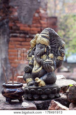 Statue of Hindu God Ganesha in Ayutthaya, Thailand