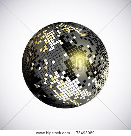 Disco ball icon. Silver disco mirror ball isolated. Design element for party flyer poster or brochures. Vector illustration.