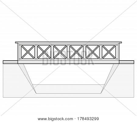 Vector train bridge in side view and isolated on white background. Industrial 2d transportation building. Metallic bridge architecture. Outlined railway bridge with rail. Assembled bridge construction