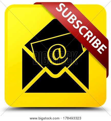 Subscribe (newsletter Email Icon) Yellow Square Button Red Ribbon In Corner