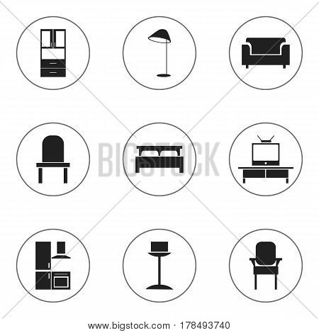 Set Of 9 Editable Furniture Icons. Includes Symbols Such As Stool, Lectern, Couch And More. Can Be Used For Web, Mobile, UI And Infographic Design.