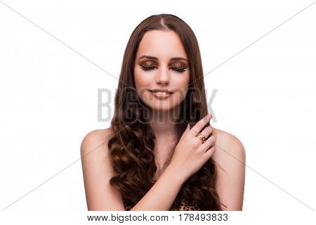 Young beautiful woman isolated on white background