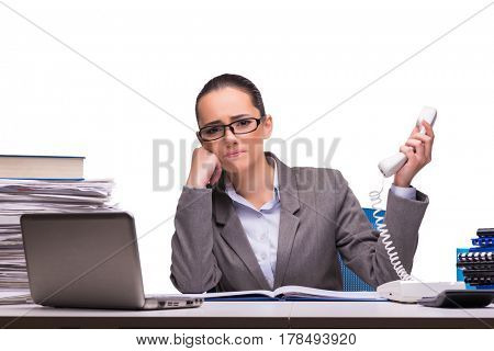 Young businesswoman in office isolated on white