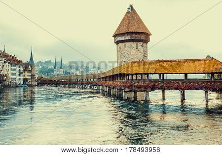 Chapel Bridge and Water Tower in Lucerne Switzerland