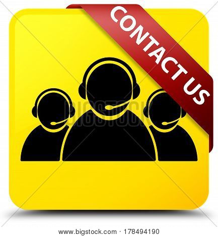 Contact Us (customer Care Team Icon) Yellow Square Button Red Ribbon In Corner