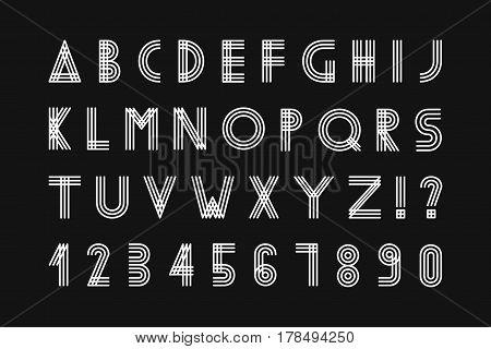 Simple minimalistic font. Digital minimal striped alphabet.