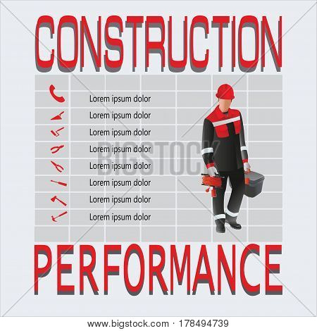 Working with the tools. Construction and performance. The composition of the work carrying and hand tools. Design for poster: construction, jobs, labor safety, instructions. Vector image.