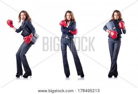 Young woman with boxing gloves isolated on white