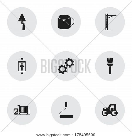 Set Of 9 Editable Building Icons. Includes Symbols Such As Mop, Hoisting Machine, Lift And More. Can Be Used For Web, Mobile, UI And Infographic Design.