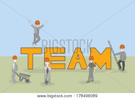 Sketch of teamwork with working little people. Doodle cute miniature of word construction. Hand drawn cartoon vector illustration for business design and concepts.