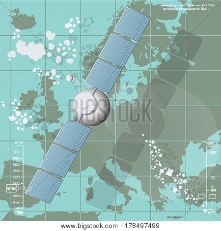 Vector illustration depicting a communications satellite over Europe