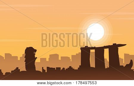 Vector art of Singapore city scenery collection stock