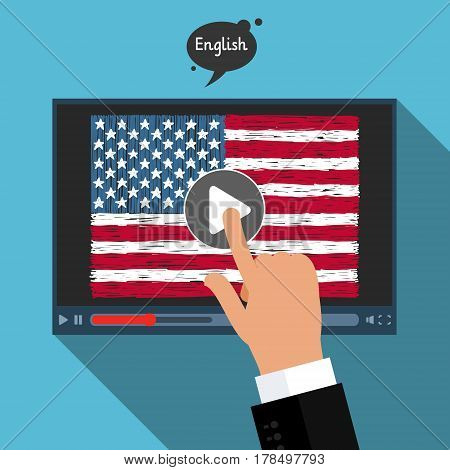 Concept of learning languages. Study American English. Screen with hand drawn American flag. Film in English.