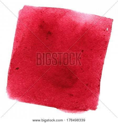 Red wry watercolor square with stains. Abstract background. Element for your design