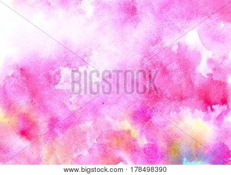 Pink water color background with colorful stains