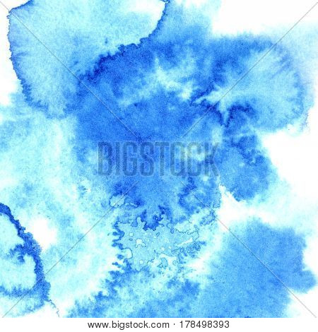 Blue diffluent watercolor background with stains
