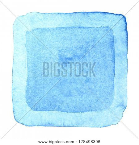 Blue watercolor square frame. Abstract background. Element for your design