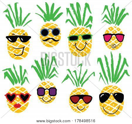 Set of pineapples like humans. Summer colection of sunglasses on smiling pineapple characters. Cute cartoon vector illustration