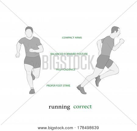 man running. Sport, getting rid of excess weight. healthy lifestyle. vector illustration.