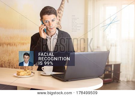 Recognition Of Male Face. Biometric Verification And Identification