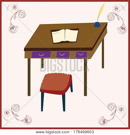 Draw of desk; stylized in a dial