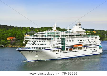 STOCKHOLM, SWEDEN - MAY 22, 2016: Cruise ship Birka Cruises sailing to port Stockholm. MS Birka Stockholm is a cruise ship owned by Birka Line, operated under their Birka Cruises brand.