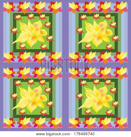 Seamless abstract yellow flower in blue green dials