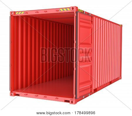 Open shipping container, cargo. Isolated on White background. 3d rendering