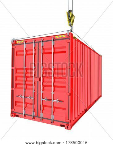 Red Cargo Container Hoisted By Hook, Isolated on White Background. 3D Illustration. Transportation Concept. Template For Your Design