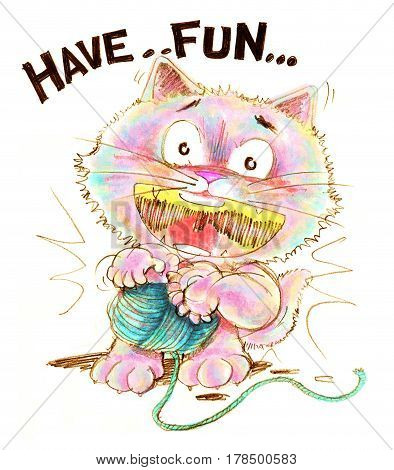 Cat cartoon playing with yarn having fun Character pencil color hand drawing and design.